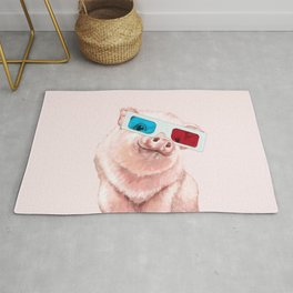 Baby Pink Pig Wear Glasses Pink Rug