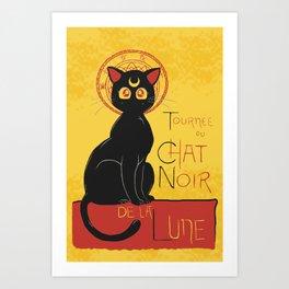 Chat Noir de la Lune Art Print
