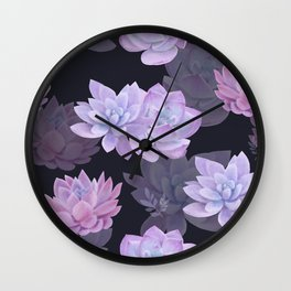 Succulents and lotuses Wall Clock