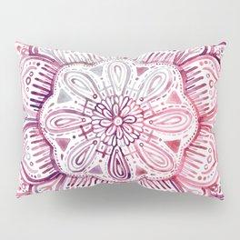 Burgundy Blush Watercolor Mandala Pillow Sham