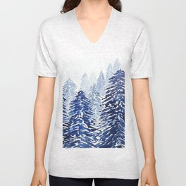 A snowy pine forest Unisex V-Neck