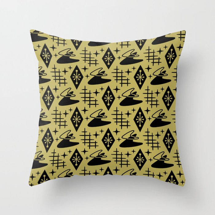 Mid Century Modern Boomerang Abstract Pattern Gold and Black 361 Throw Pillow