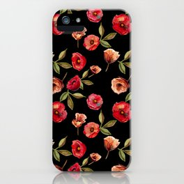 Hot Black Floral Moods iPhone Case