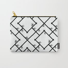 Bamboo Chinoiserie Lattice in White + Black Carry-All Pouch