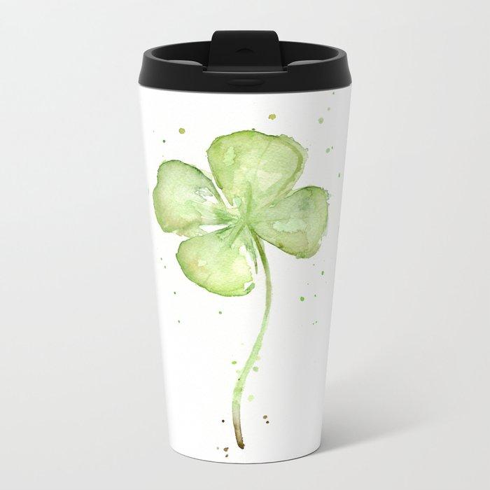 Clover Four Leaf Lucky Charm Green Clovers Metal Travel Mug