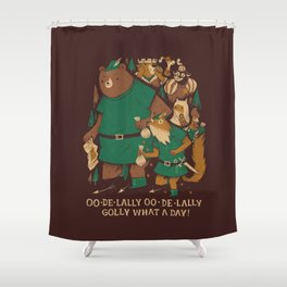 oo-de-lally (brown version) Shower Curtain