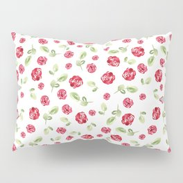 Red Roses Watercolor // Hand Painted // Watercolor Roses and Leaves Pillow Sham