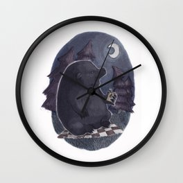 Bear on a Midnight Picnic Wall Clock