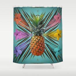 Pineapple Hibiscus Shower Curtain