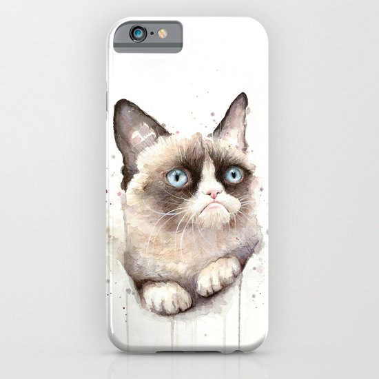 Grumpy Watercolor Cat Animals Meme Geek Art iPhone & iPod Case