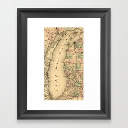 Vintage Map of Lake Michigan (1876) Framed Art Print