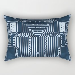 Blue Geek Motherboard Circuit Pattern Rectangular Pillow