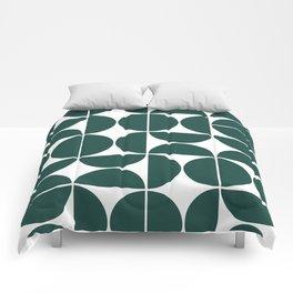 Mid Century Modern Geometric 04 Dark Green Comforters