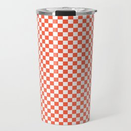Living Coral Color of the Year in Coral Orange and White Checkerboard Travel Mug