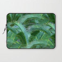 ABSTRACTED BLUE-GREEN TROPICAL PALMS GREEN ART Laptop Sleeve