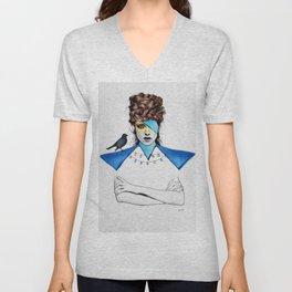 Blue Girl & Black Bird Unisex V-Neck