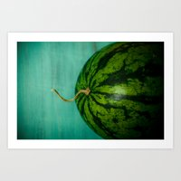 watermelon Art Prints featuring Watermelon by Olivia Joy StClaire