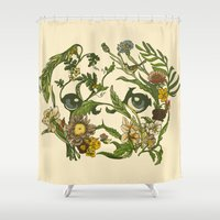 botanical Shower Curtains featuring Botanical Pug by Huebucket