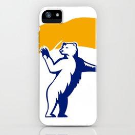 Polar Bear Holding Flag Waving Mascot iPhone Case