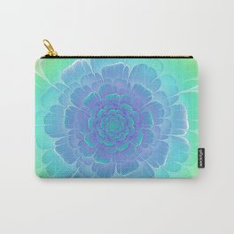 Romantic blue and green flower, digital abstracts Carry-All Pouch