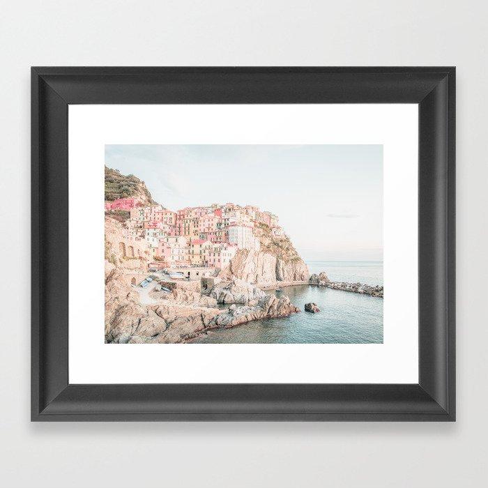 Positano, Italy Amalfi coast pink-peach-white travel photography in hd Framed Art Print