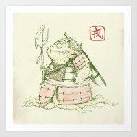 warrior Art Prints featuring Warrior by Pigboom Art