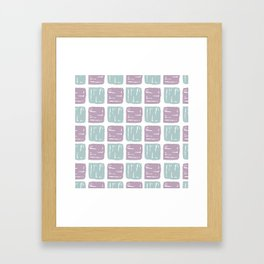 Watercolor lilac green abstract geometrical squares pattern Framed Art Print