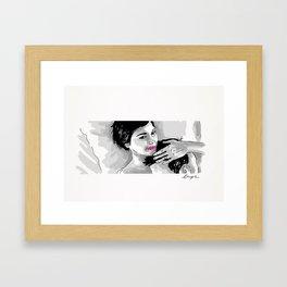Amelie and Nino- Bed. Framed Art Print