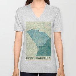 South Carolina State Map Blue Vintage Unisex V-Neck