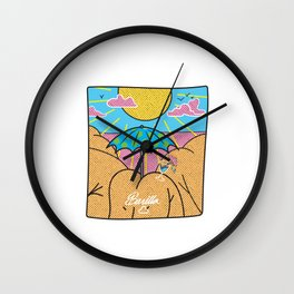 """ Its a Bootyful Day ' holliday beach design by banilla Wall Clock"
