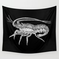 lobster Wall Tapestries featuring Spiny Lobster by Tim Jeffs Art