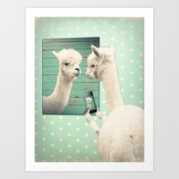 selfie Art Prints featuring SELFIE by Monika Strigel