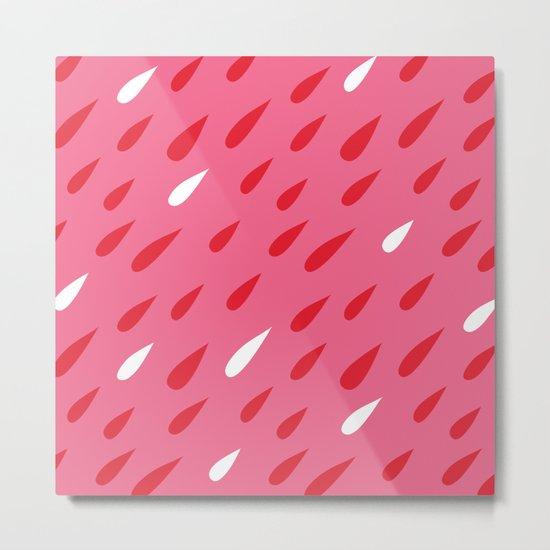 Red + Pink Droplets Metal Print