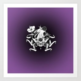 The Skull the Flowers and the Snail Art Print