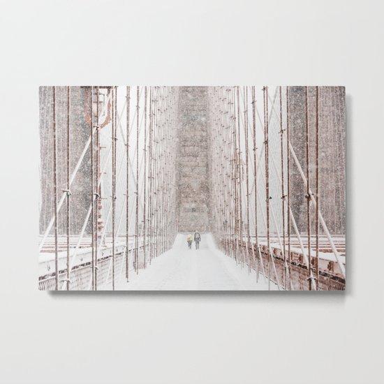 Brooklyn Bridge Snow Metal Print