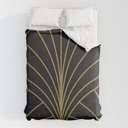 Round Series Floral Burst Gold on Charcoal Comforters