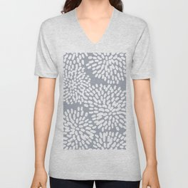 Grey and White Abstract Firework Flowers Unisex V-Neck