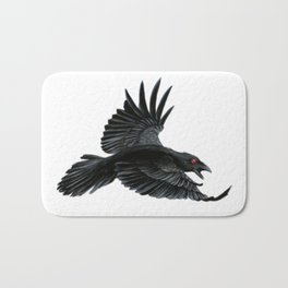 Black Crow Red Eyes Bath Mat