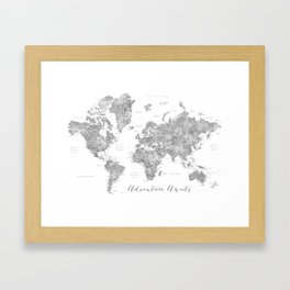 Adventure awaits... detailed world map in grayscale watercolor Framed Art Print