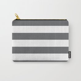 Simply Striped in Storm Gray and White Carry-All Pouch