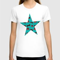 fez T-shirts featuring Red Fez & Bow Tie (on teal green) by Bohemian Bear by Kristi Duggins