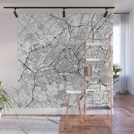 Lille Map Gray Wall Mural