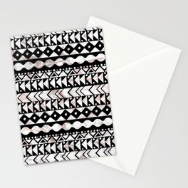 Elegant black white faux rose gold marble aztec geometrical Stationery Cards