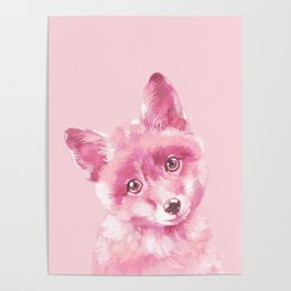 Baby Fox in Pink Poster