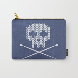 Knitted Skull - White on Navy Blue Carry-All Pouch