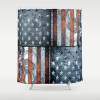american Shower Curtains featuring American flag by Bekim ART