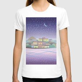 Snowing Village at Night T-shirt
