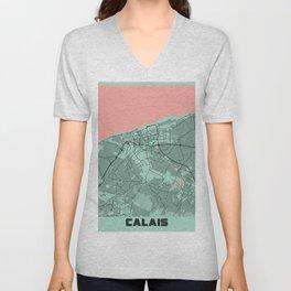 Calais - France Peony City Map Unisex V-Neck