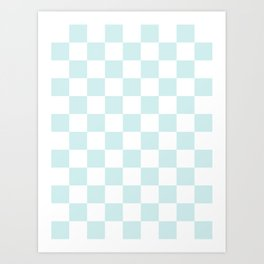 Checkered - White and Light Cyan Art Print