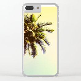 Coco Palm Tree in Yellow Tropical Sunset Clear iPhone Case